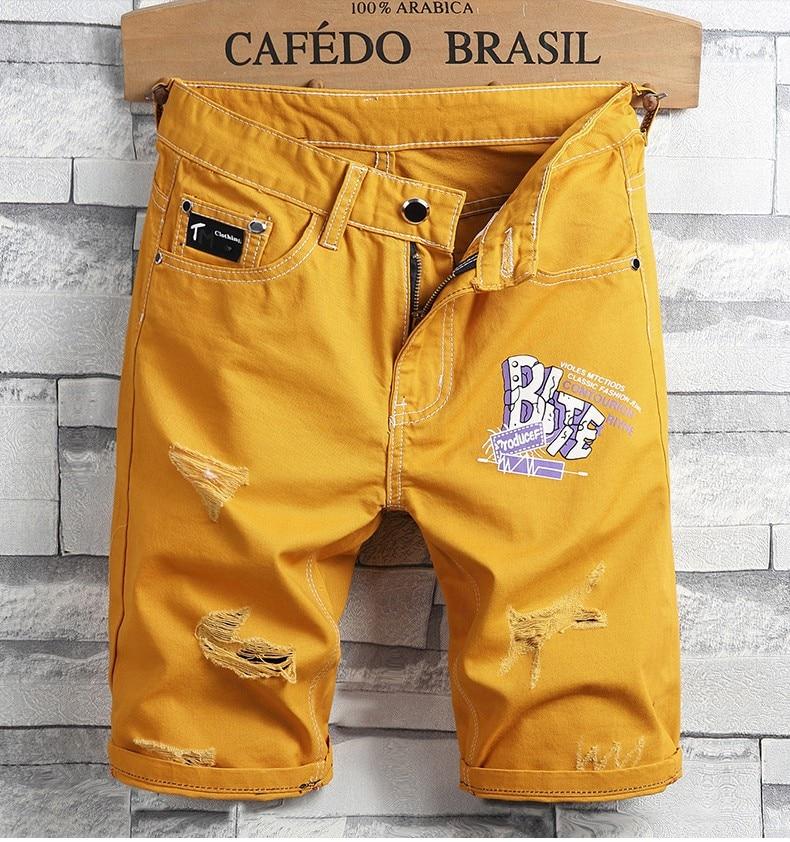 New Fashion Men Holes Short Jeans Summer Men Yellow Denim Shorts High Quality Men Cototn Straight Casual Denim Jean Shorts