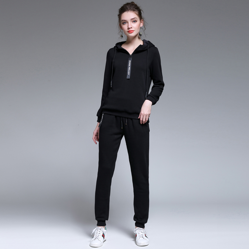 5xl 2017 Winter 2 piece set Women thick warm velvet Sporting Suits Loose Hooded Thick Sportswear