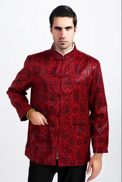 0da9a05c72079 Burgundy winter Fashion Chinese Style Men s Kung-Fu Jacket Coat M L XL XXL  XXXL Free Shipping M1