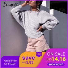 Simplee Sexy lace up winter knitted sweater pullover Women one shoulder loose sweater jumper Autumn batwing sleeve gray sweater(China)