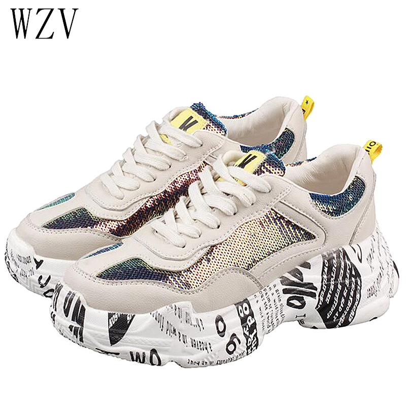 47653ca5af US $20.03 32% OFF|2019 Spring Summer Womens Sneakers Fashion Bling Sequins  Platform Casual Shoes Lace Up Round Toe Sneakers Womens E728-in Women's ...