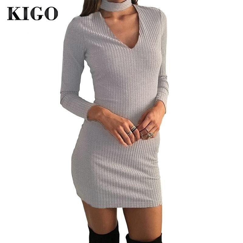 KIGO Autumn Sexy V Neck Halter Dress Long Sleeve Gray Knitted Sweater Dress Mini-Length Sexy Club Bodycon Dress 2016 KZ0666H
