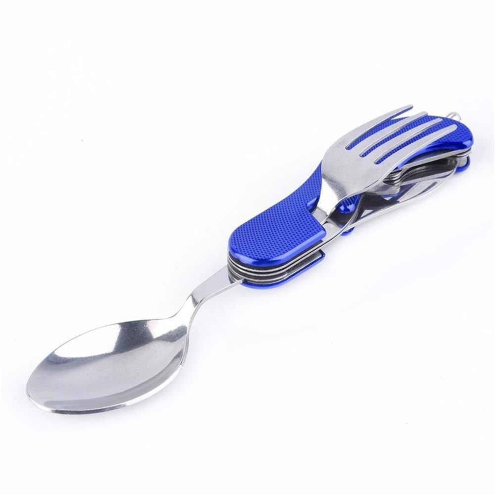 أدوات المائدة المحمولة للتخييم في الهواء الطلق شوكة سكين ، الفولاذ المقاوم للصدأ 3 in1 متعددة الوظائف للطي ملعقة وشوكة سكين مجموعات السفر