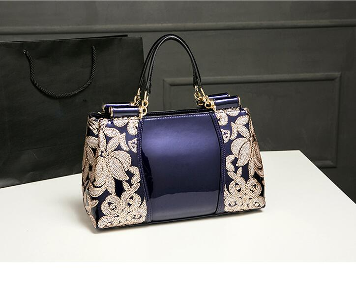 ФОТО New Fashion Brand women genuine leather handbag Patent leather bright skin Embroidery bag single shoulder