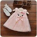 Inverno roupas de bebê menina vestido de princesa dos desenhos animados olhos Raposa algodão colete arco vestido para a menina vestido roupas traje para o bebê meninas