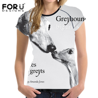 FORUDESIGNS 2017 Fashion 3D Greyhound Women Casual Summer T Shirt Animal Prints Elastic Breathable Lady Tee