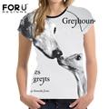 Galgo forudesigns 3d 2017 de la moda de las mujeres camiseta ocasional del verano animal prints elástico transpirable camiseta dama encabeza roupa feminina