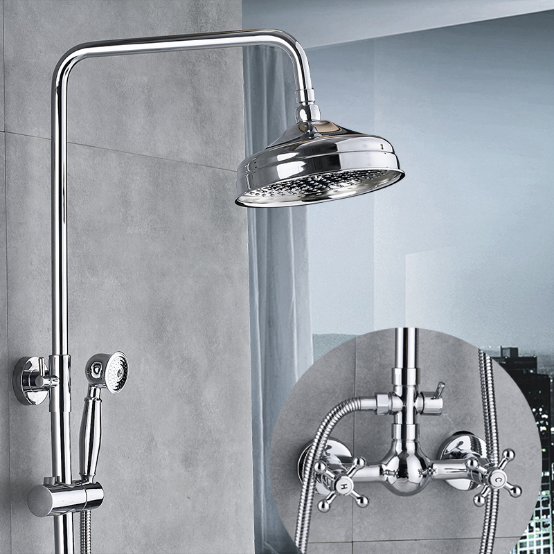 Bathroom Shower Faucet set 8 Rainfall Shower Set Tub Mixer Faucet Wall Mounted Tap With Hand Sprayer 3-Function Switch