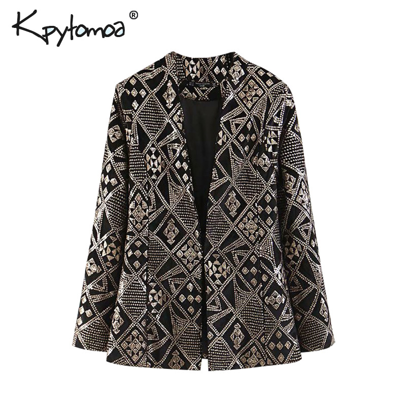 Vintage Chic Sequin Velvet OL Blazers Coat Women 2019 Fashion V Neck Long Sleeve Streetwear Ladies Outerwear Casual Jacket Tops