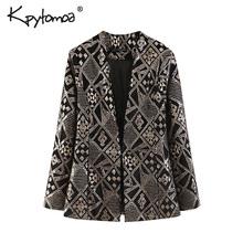 Vintage Chic Sequin Velvet OL Blazers Coat Women 2019 Fashion V Neck Long Sleeve Streetwear Ladies