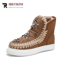 RIBETRINI 2017 Fashion Sweet Hot Sale Cow Suede Beading Snow Boots Sewing Platform Warm Fur Women