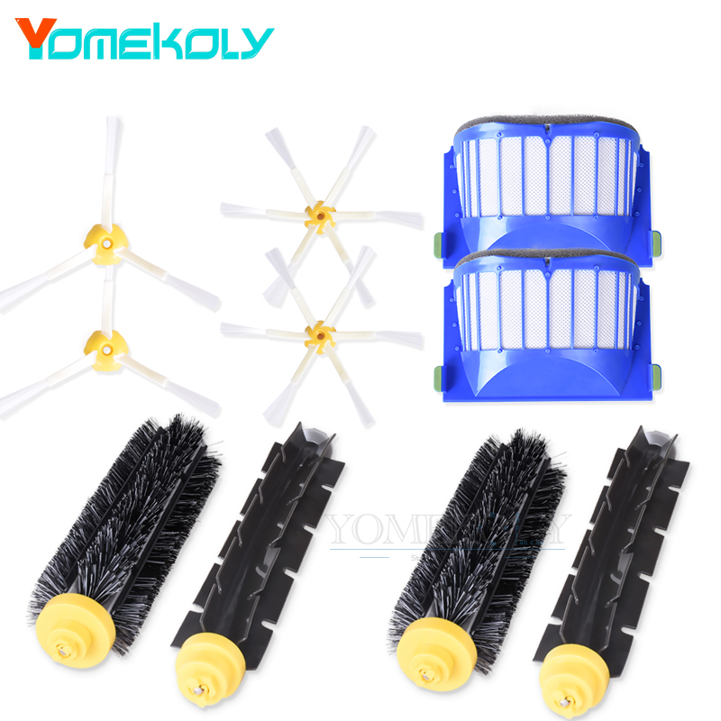 2 Bristle & Flexible Beater &4 Armed Brush & 2 Aero Vac Filter For iRobot Roomba 600 620 630 650 660 Vacuum Cleaer Replacement aero vac filter bristle brush flexible beater brush 3 armed side brush tool for irobot roomba 600 series 620 630 650 660