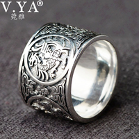 V.YA 100% Real 990 Pure Silver Jewelry Vintage FourAancient Beast Dragon Rings for Men Male High Quality Silver Ring Jewelry