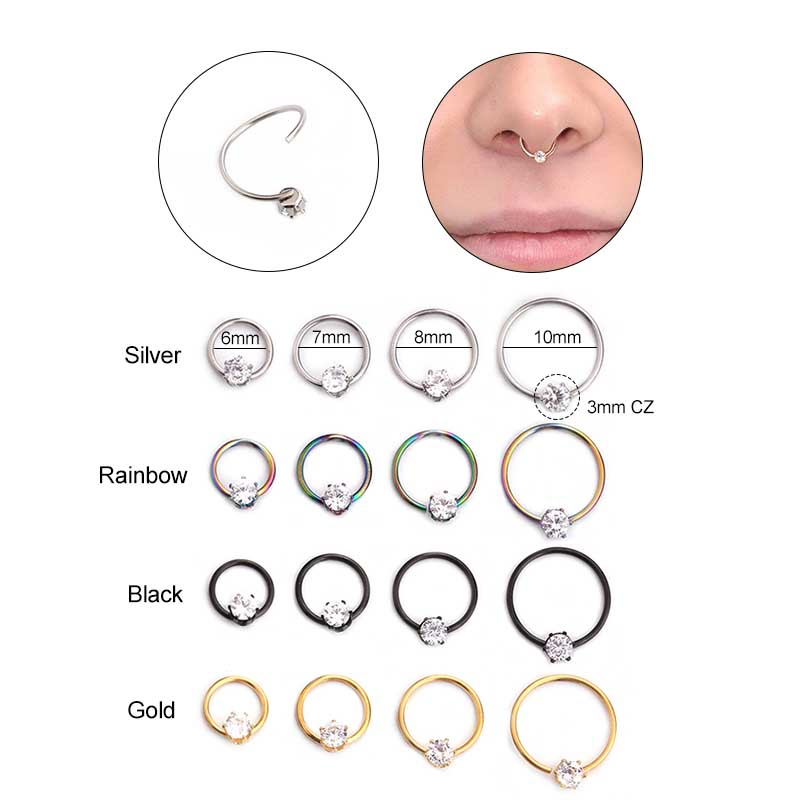 4pcs Lot 20g Cz Hoop Nose Piercing Septum Ring Helix Cartilage
