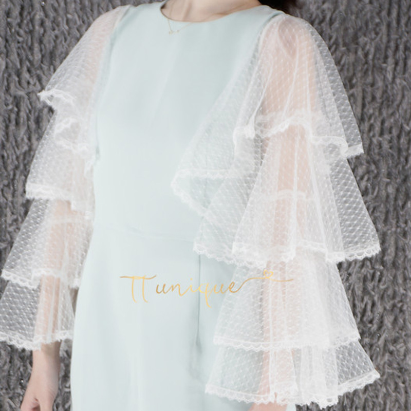 Extreme Beauty Black Styling Photo Water Jade Dot Mesh Lace Lace Bow White Cuffs Cotton Mummy Sleeves Decorated Cuffs False