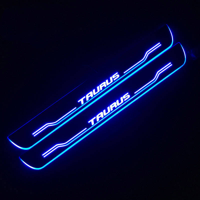 SNCN LED Car Scuff Plate Trim Pedal Door Sill Pathway Moving Welcome Light For Ford Taurus