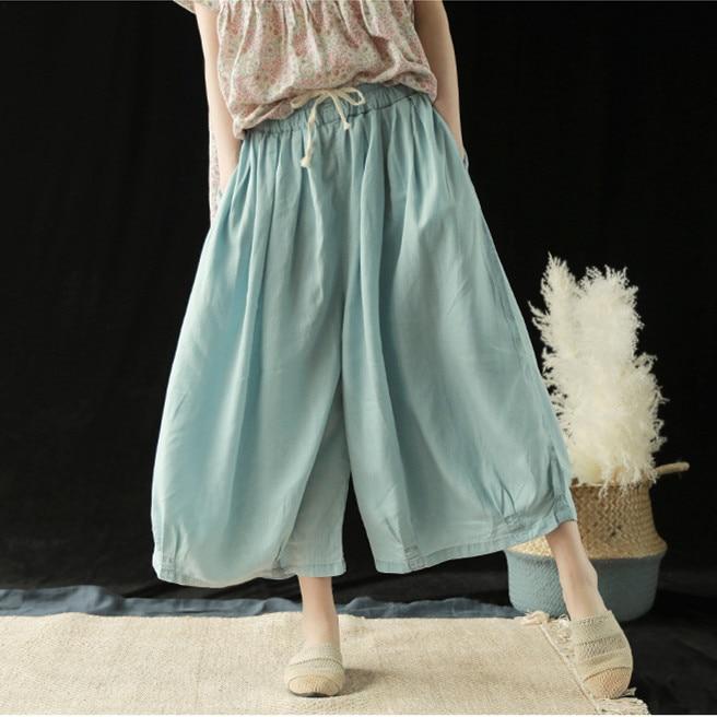 Fashion 2019 Summer Solid Color Pockets Loose   Pants   Women Vintage Elastic Waist Cotton Linen   Wide     Leg     Pants