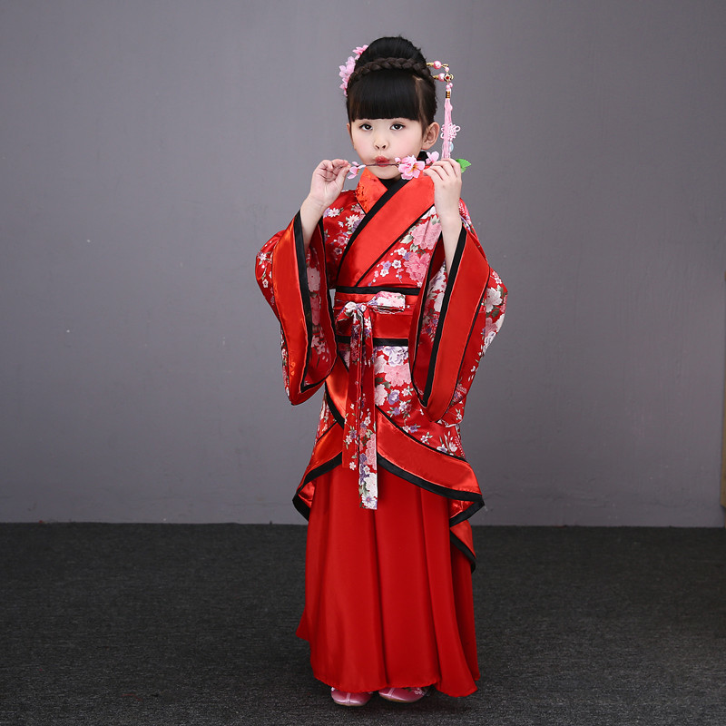 Traditional Chinese Hanfu Woman Dancing Clothing White Classic Dress Folk Dance Costumes For Kids Girls Children Child Red Blue