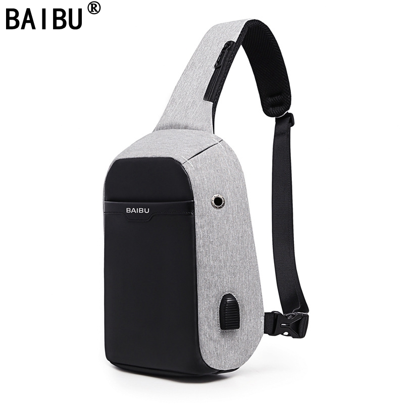 BAIBU New USB Charging Crossbody Bags Men Anti-theft Chest Pack Short Trip Messengers Bag Waterproof Mobile Phone Shoulder Bag