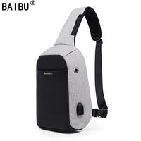 BAIBU NEN External USB Charge Casual Chest Bag Men Messenger Bags Small Bags Travel Backbag CrossBody