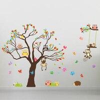 בעלי חיים עץ וול מדבקת בית תפאורה חדר ילדים לשחק Adesivos דה פרדס קישוט DIY מדבקות קיר משתלת גן ילדים ילדה מתנות
