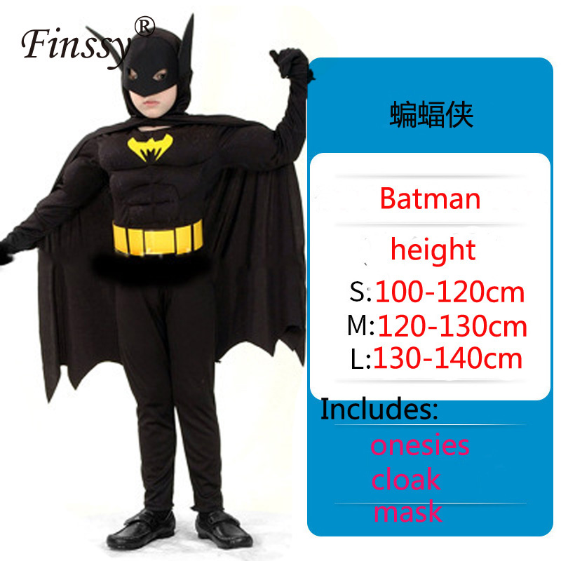Children Cosplay Batman Performance Costume Avengers Heroes Halloween Carnival Dress Up Clothes