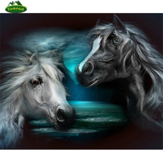 White and Black Horse Full Diamond Embroidery Diy Diamond Painting Crystal Square Diamond Sets Unfinished Gift Crafts