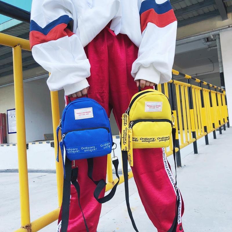 Multi-Use Teenage Girls Mini Backpack Nylon Letter Print Shoulder Crossbody Bags Casual Women Backpack Mochilas Mujer