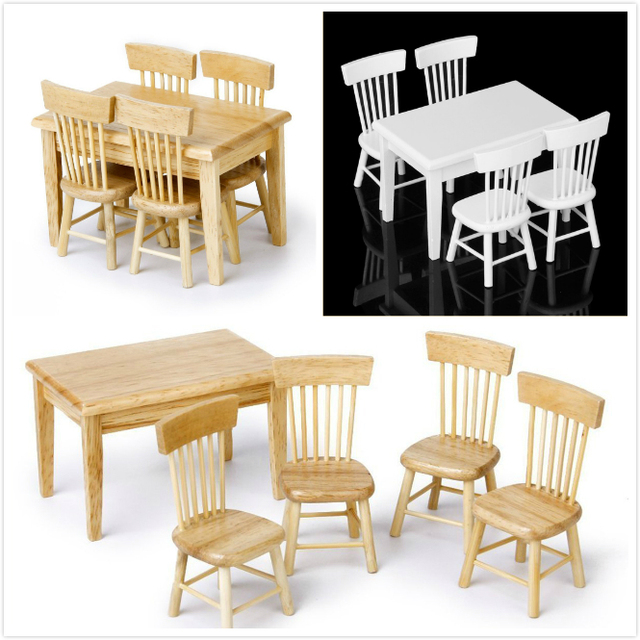 Merveilleux 1/12 Dollhouse Dining Room Furniture Set 5pcs Dining Table And 4 Chairs Free  Shipping