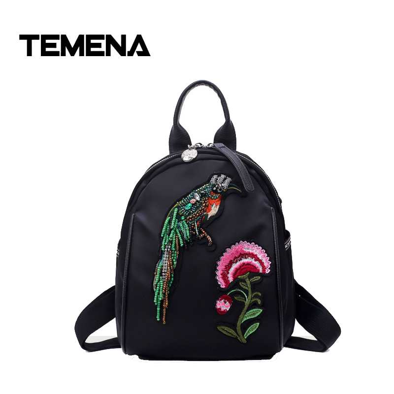 Temena 2018 Embroidery Butterfly Bird Women Backpack School Bags For Girls Shoulder Bag Fashion Ladies Travel Backpacks BBP369