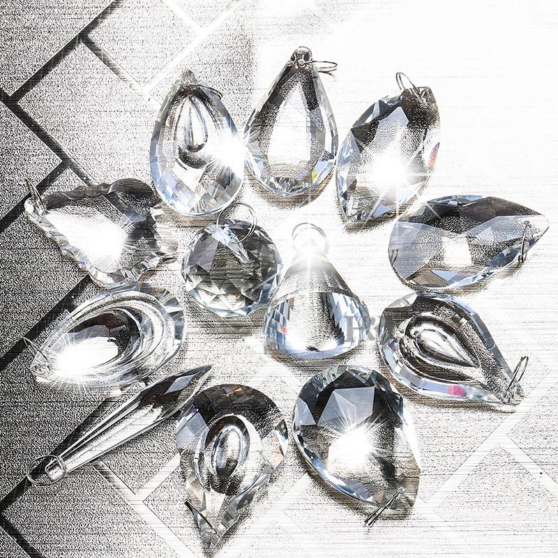 5 lustre coupe en verre cristaux gouttes perles gouttes à bout pointu glaçons Lumière prismes