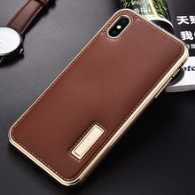 IMATCH Original Brand Mobile Phone Case Genuine Leather Aluminum Metal Frame Cover Cases For iphone XS Max XR X 7 8 Plus