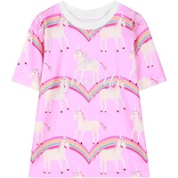 2016 Spring Womens Short Sleeve Unicorn T Shirt Harajuku Style Letter Embroidery Tee Top Woman Ladies