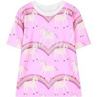 2017 wiosna kobiet krótki rękaw koszulka w stylu harajuku jednorożec list haft tee top kobieta panie lato tshirt różowy T Shirt