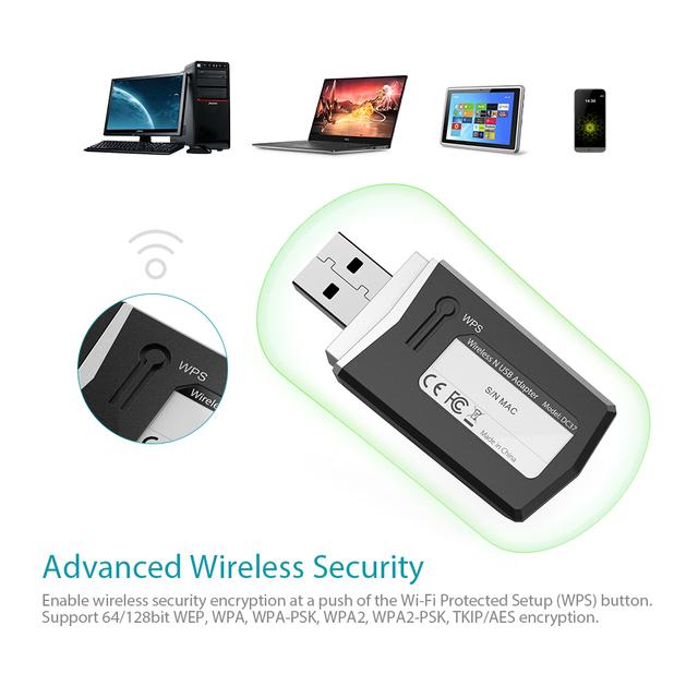 dodocool N300 Wireless-N Wireless Network USB 2.0 Adapter Wi-Fi Dongle 2.4 GHz 300 Mbps Support Windows XP/Vista/7/8/8.1/10/Mac