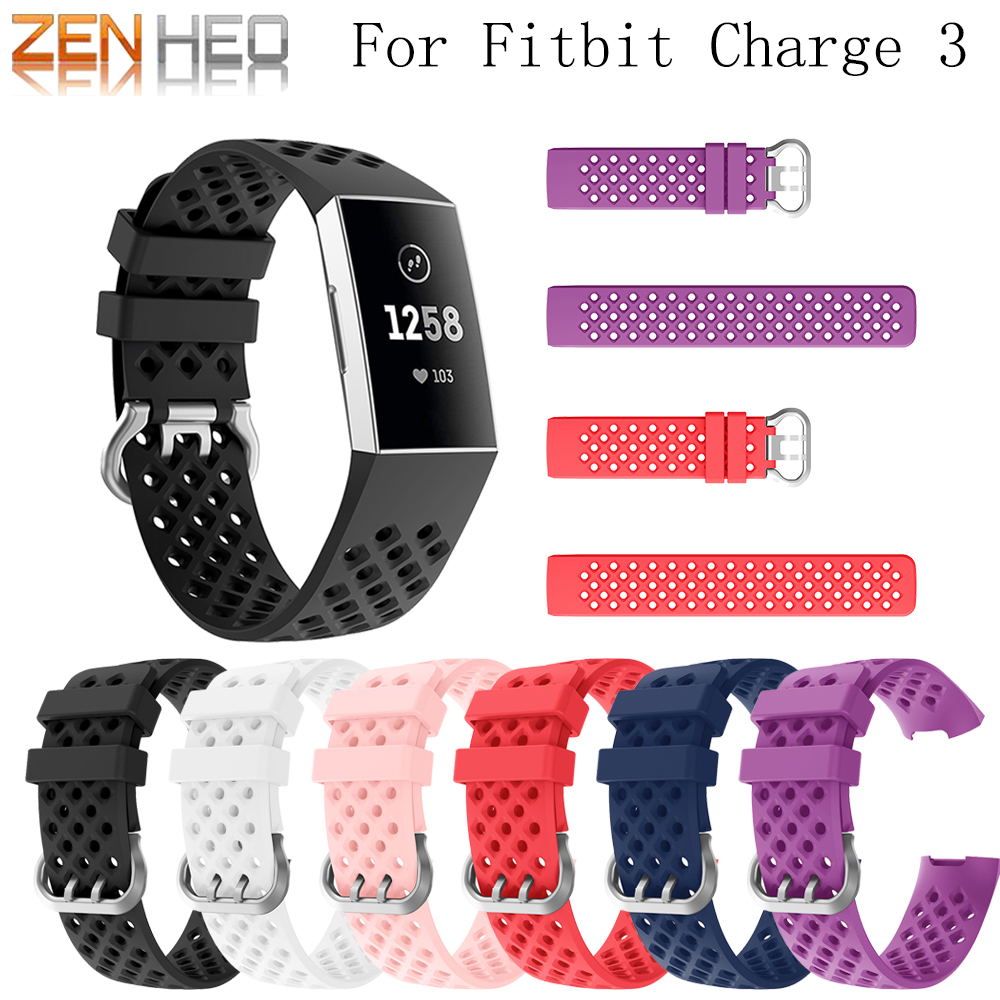 Newest arrived Sport Silicone strap For Fitbit Charge 3 bracelet wrist belt Rubber watchband For Fitbit Charge 3 Watch Strap in Smart Accessories from Consumer Electronics