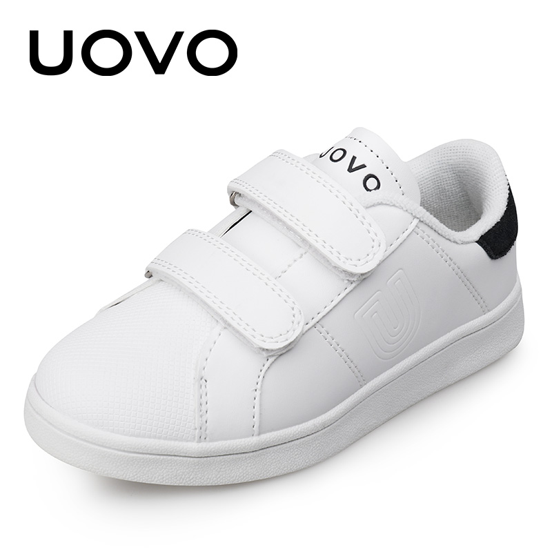 UOVO 2017 New Autumn White Shoes Classic and Simple Kids Sneakers Boys and Girls Comfortable Children Shoes for eur size 26#-36#