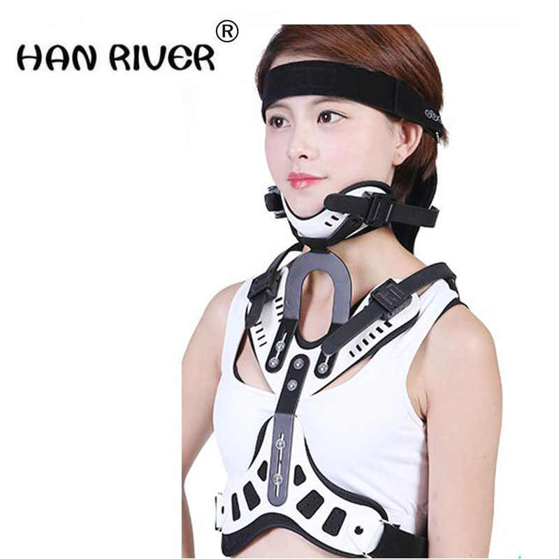 Adult head and neck and chest brace postoperative neck and chest neck collar support bracket cervical vertebra fracture fixation adjustable wrist and forearm splint external fixed support wrist brace fixing orthosisfit for men and women
