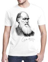 Charles Darwin Portrait Signature Evolution Atheist Science T Shirt Tshirt Tee Print Tees Short Sleeve O