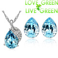 2015 wedding bridal Wholesale 18K Platinum plated Austrian Crystal leaf water drop Pendant necklace earrings Jewelry Sets 80123
