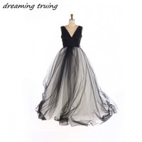 Gorgeous Arab Dubai Wedding Dresses Black And White Ball Gowns Lace Applique Gothic Bridal Dress vestidos de noiva