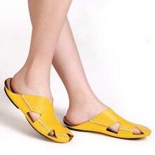 35-45ผู้ชายและผู้หญิงรองเท้าแตะ100%แท้หนังG Ladiatorรองเท้าแตะผู้หญิงรองเท้าฤดูร้อนบีชสไลด์รองเท้าสุภาพสตรี(3166)