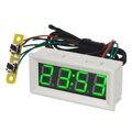 0.56 LED Verde Temperatura Tensão Relógio Termômetro Digital Display Voltímetro Metros Digital Car Volt Medidor De Teste Elétrico
