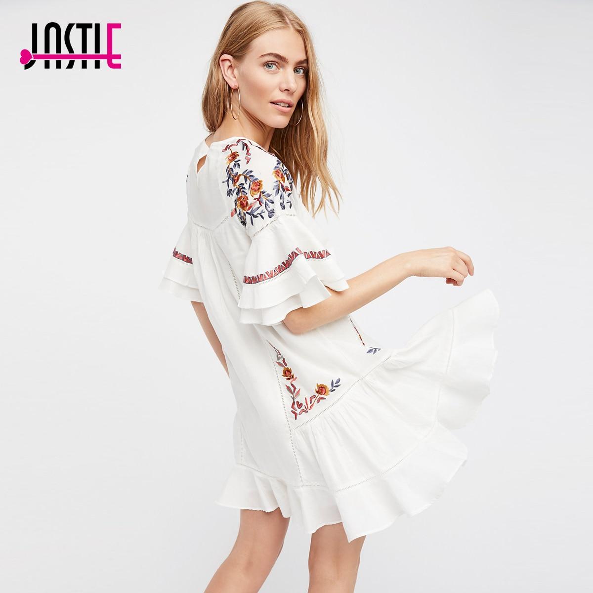 Jastie Breezy coton robe belle Floral broderie d'été robes évasées ourlet manches Boho Chic plage robe 2018 femmes Vestido