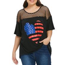 e18f0be6c31b1 MUQGEW femmes mode à manches courtes motif coeur drapeau américain T-shirt  haut ample hauts  7