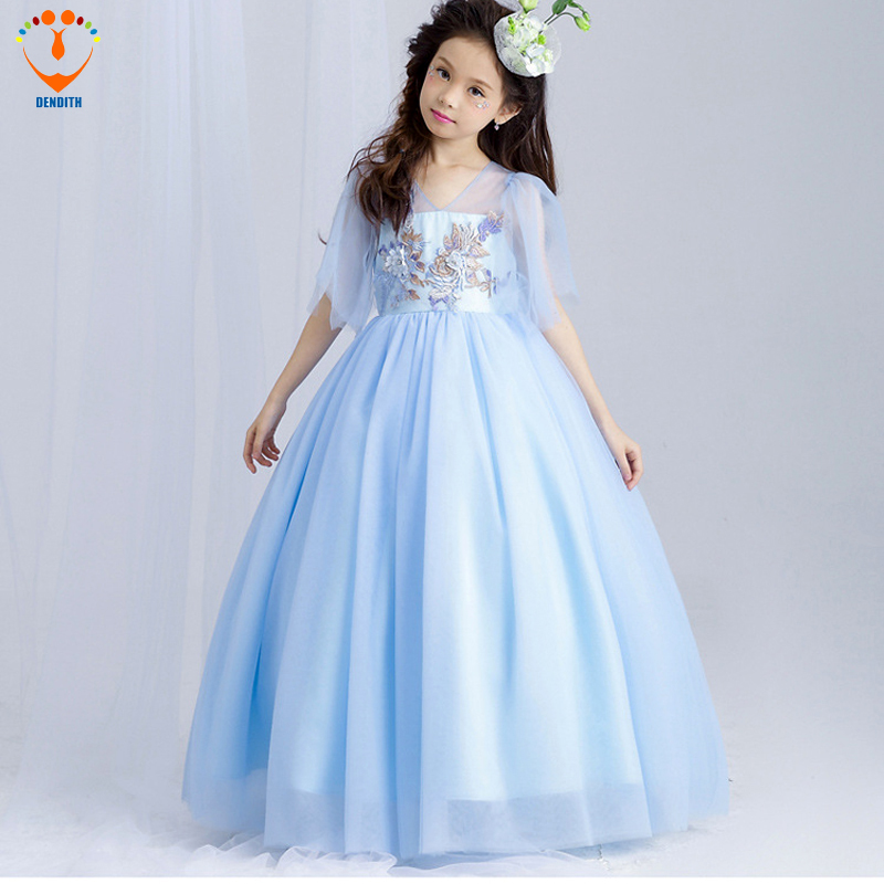 V-neck baby girl Ball Gown Dress baby girls flower embroidery wedding lace dress half sleeve kids clothing bow blue lace embroidered floral print stylish scoop neck half sleeve two piece dress for women