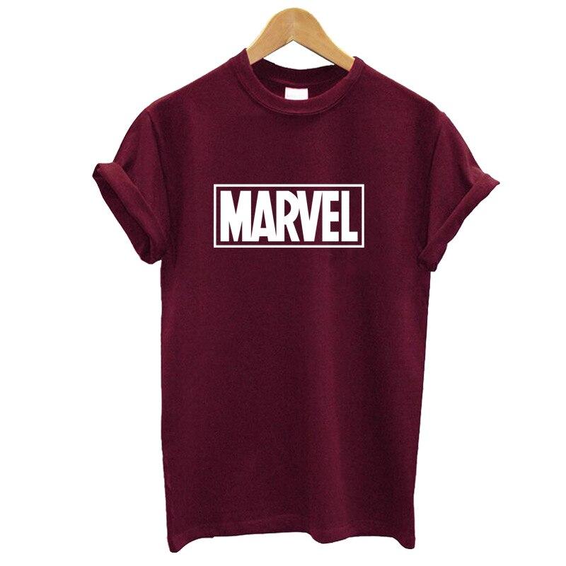 2019 Verão Marvel MARVEL Letra Impressa T-Shirt Da Mulher de algodão Mangas Curtas Casuais Camiseta Femme Tops Plus Size Engraçado T camisas