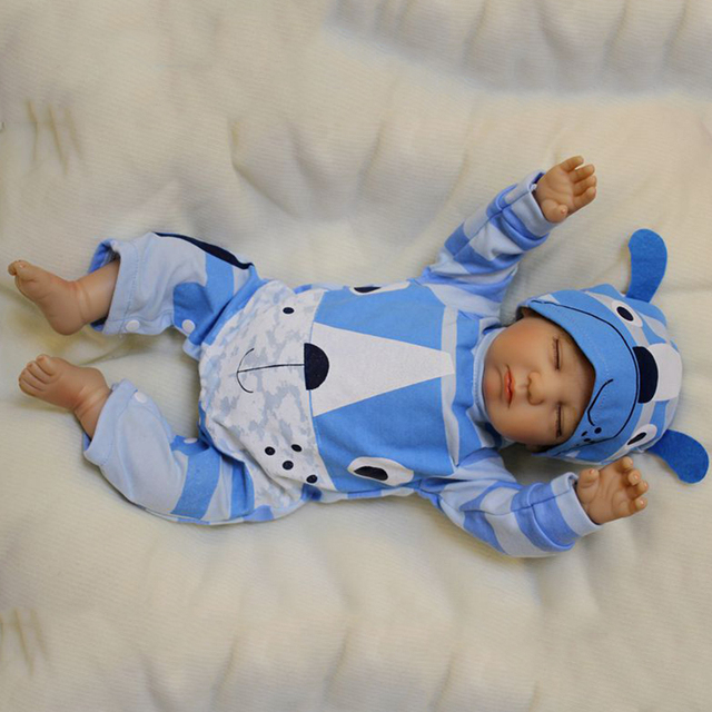 Handmade Sleeping Reborn Dolls Simulation Boy Sweet Dream Newborn Baby Toys  With Pacifier And Blue Hat Lovely Educational Toys e0e7ed2f07a2