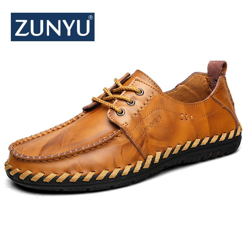 ZUNYU 2018 Fashion Comfortable Casual Shoes Loafers Men Shoes Quality Genuine   Leather   Shoes Men Flats Hot Sale Moccasins Shoes