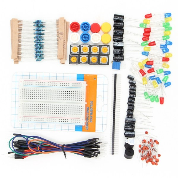 1 Set Components starter kit 400 point breadboard+30 x jumper wires+Resistor Kit + Capacitor Kit+2xbuzzer+LEDs with Plastic Box1 Set Components starter kit 400 point breadboard+30 x jumper wires+Resistor Kit + Capacitor Kit+2xbuzzer+LEDs with Plastic Box